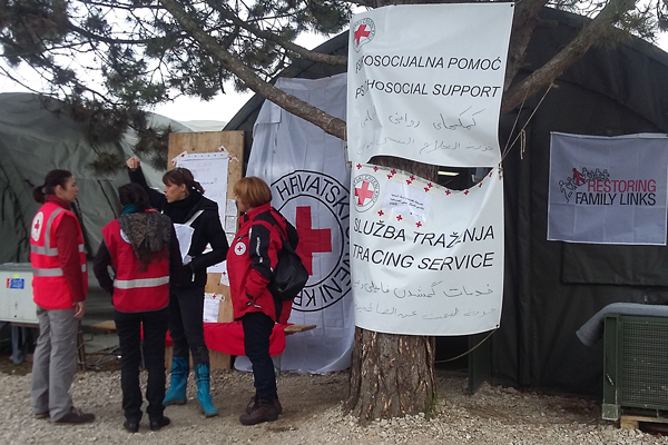 Opatovac, Croatia. Croatian Red Cross staff await refugees, ready to provide psychosocial support.